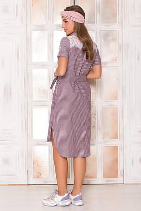 Летнее платье рубашка хлопковое с кружевом, фото 2