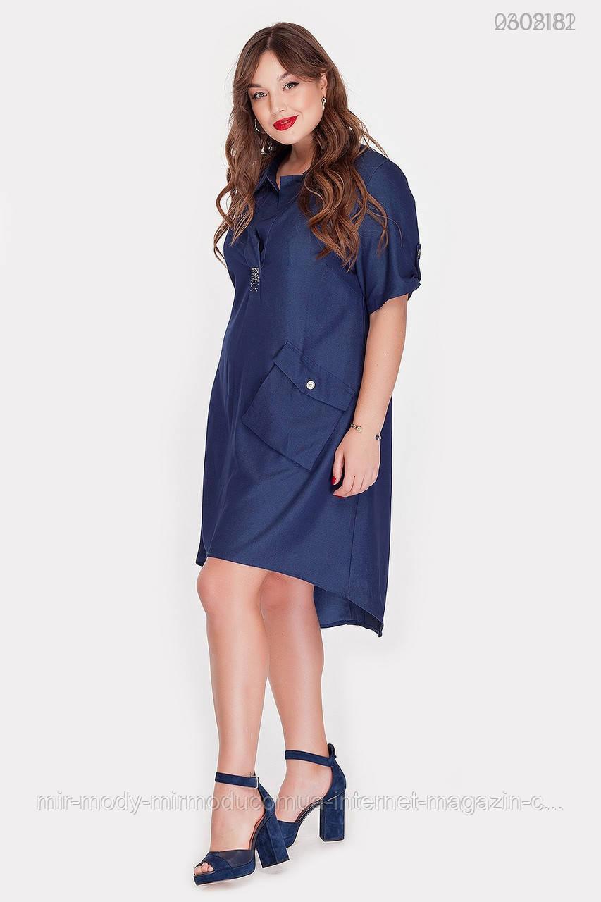 Платье Дамаск-1 коттон (синий)(2 цвета) с  48 по 54 размер (рин)