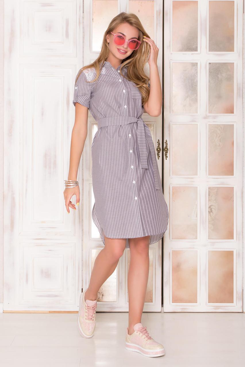 Летнее платье рубашка хлопковое с кружевом серое