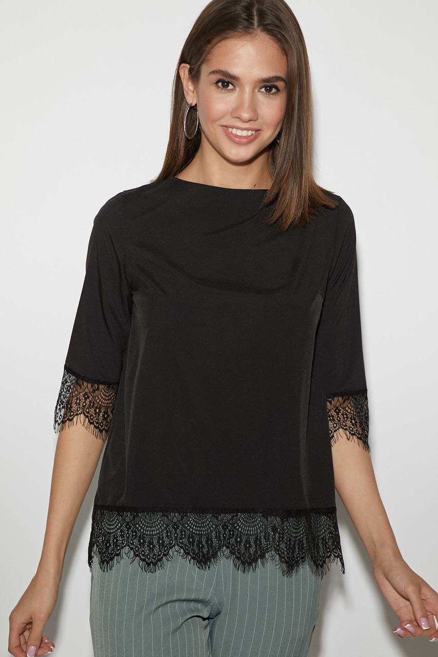 (S, M, L) Молодіжна чорна блузка з мереживом Mery
