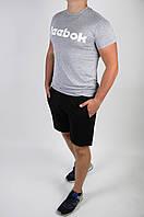 Футболка Reebok сіра + шорти чорні чоловічі літні, фото 1