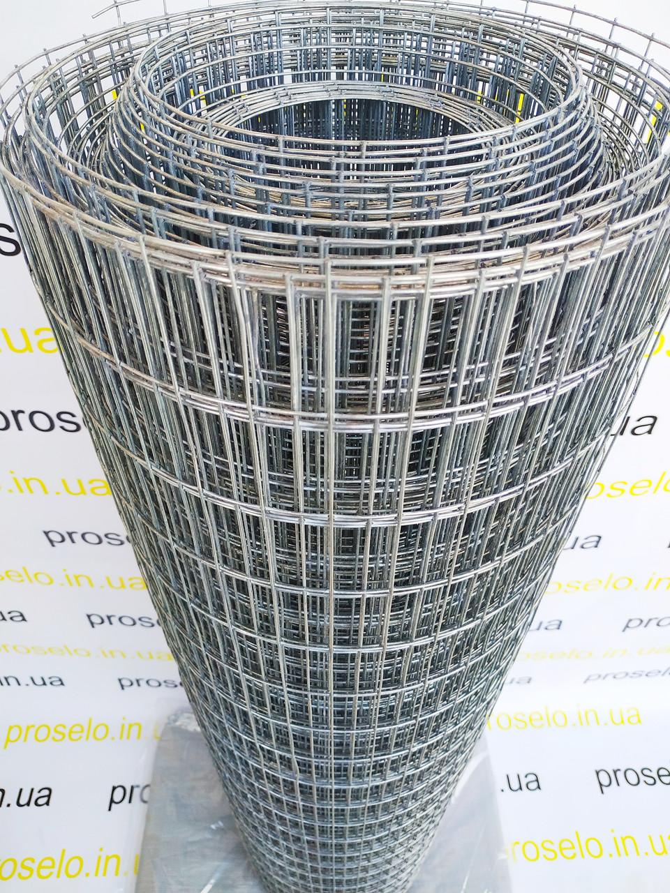 Металлическая сетка сварная 50х25 мм ячейка / 1х25 м рулон Ø 1,4 мм  сечение проволоки