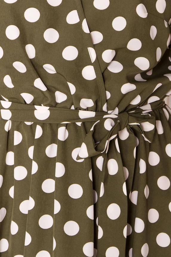 Летнее платье миди в горошек хаки, фото 2