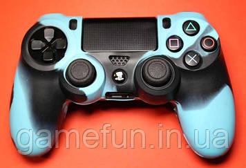 Силиконовый чехол для джойстика PS4 (Камуфляж)(Blue-black)