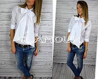 Блузка Белая галстук бант
