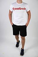 Футболка Reebok белая + шорты черные мужские летние (красное лого), фото 1