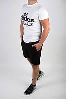 Футболка Adidas белая + шорты черные мужские летние, фото 1