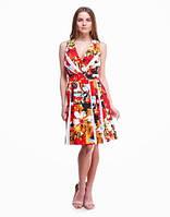Женское платье яркое с цветочным принтом оранжевое