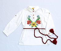 Детская белая хлопковая вышиванка для девочки Подсолнух Piccolo L