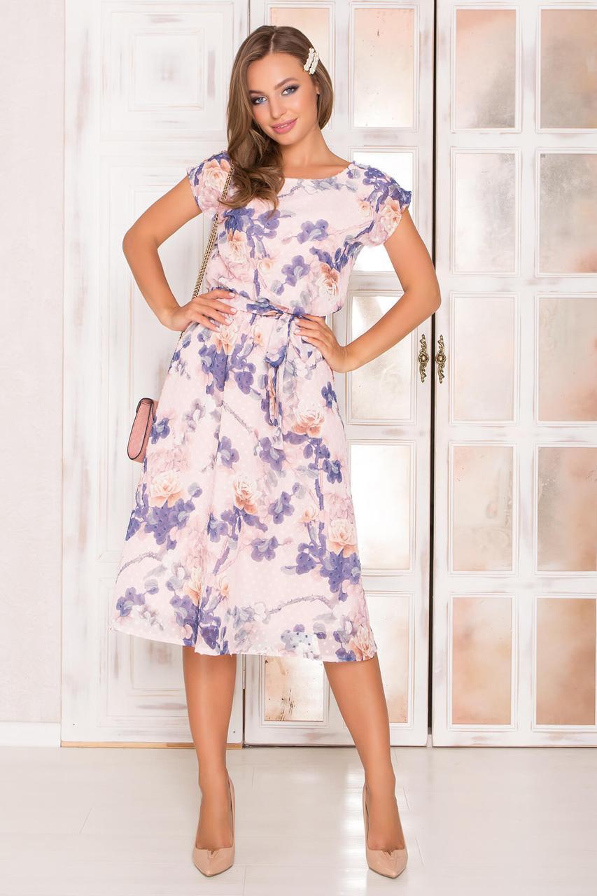 Летнее шифоновое платье с цветочным принтом