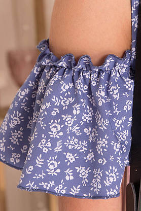 Летнее короткое платье с запахом и открытыми плечами, фото 3