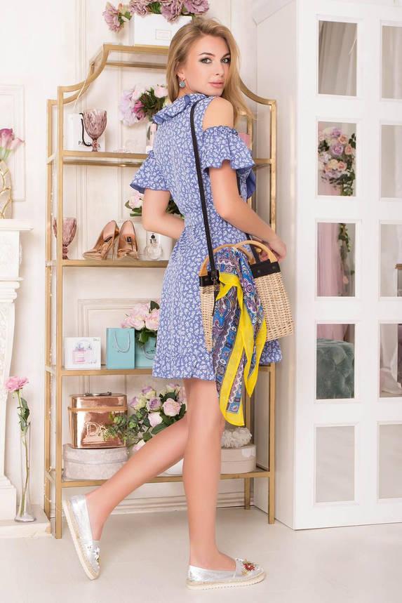 Летнее короткое платье с запахом и открытыми плечами, фото 2