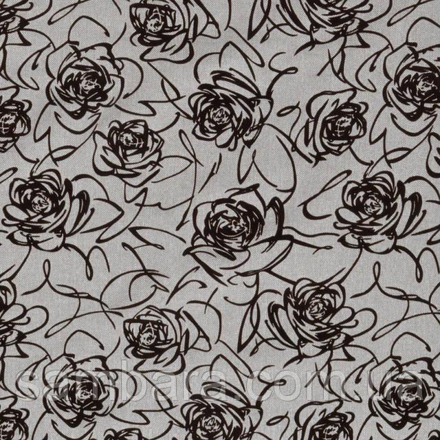 рогожка с флок цветок черный