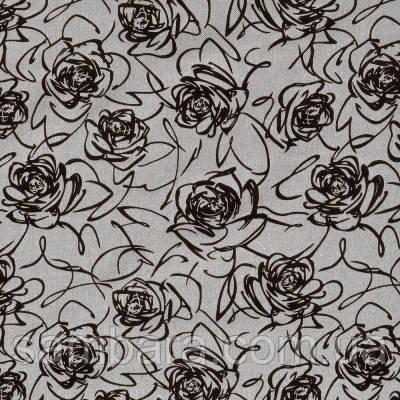 Мебельная ткань рогожка с флоком Роза бежевая