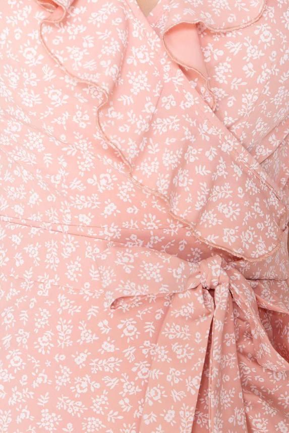 Летнее платье мини на запах с открытыми плечами, фото 2