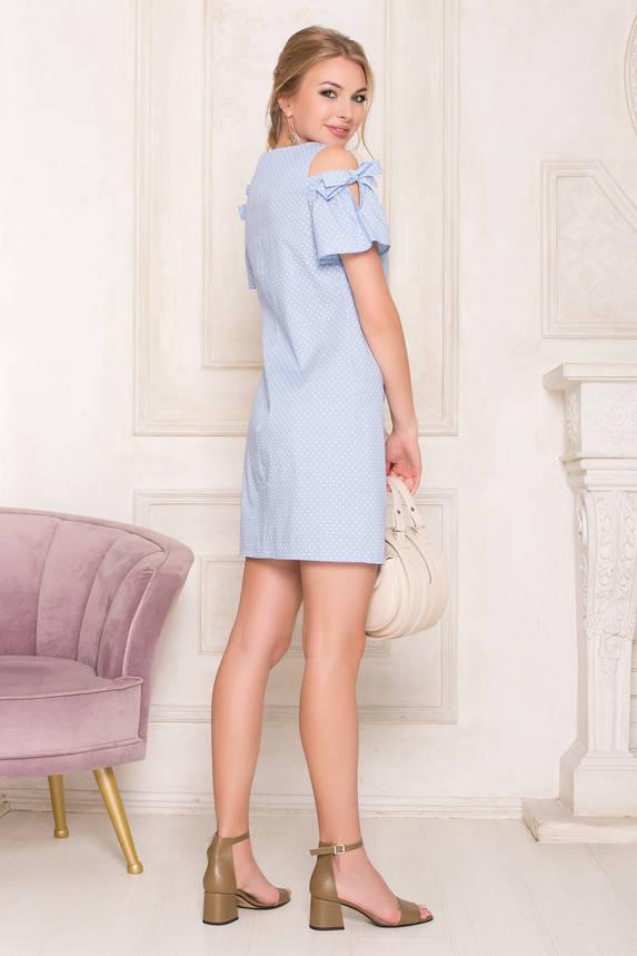 Летнее платье мини хлопковое с открытыми плечами голубое, фото 2