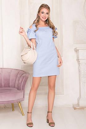 Летнее платье мини хлопковое с открытыми плечами голубое, фото 3