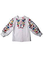 Детская белая льняная вышиванка для девочки Барвинковая радость Piccolo L