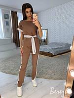 Костюм женский повседневный футболка с поясом и штаны с лампасами разные цвета Db1504, фото 1
