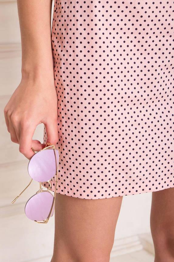 Летнее короткое платье хлопковое с открытыми плечами персик, фото 2