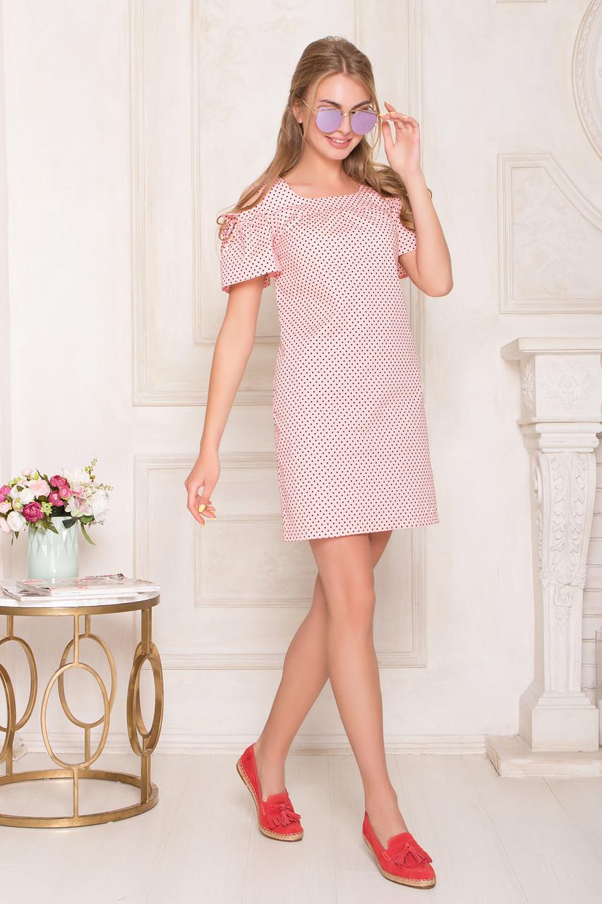 Летнее короткое платье хлопковое с открытыми плечами персик