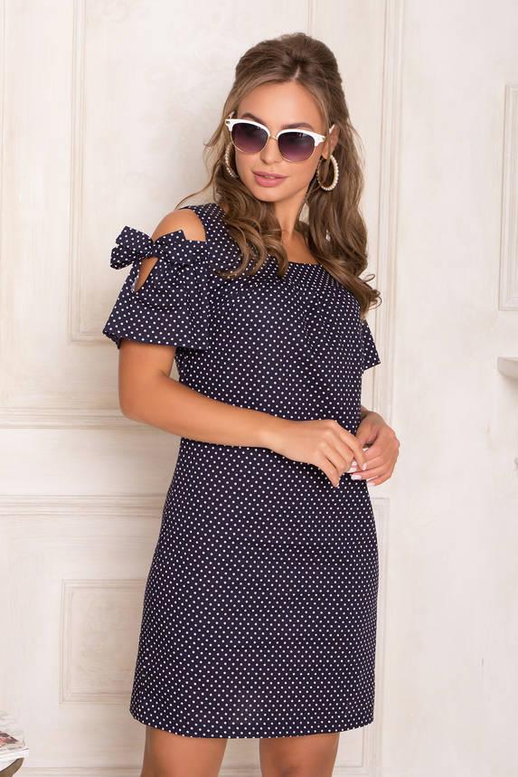 Летнее короткое платье хлопковое с открытыми плечами синее, фото 2