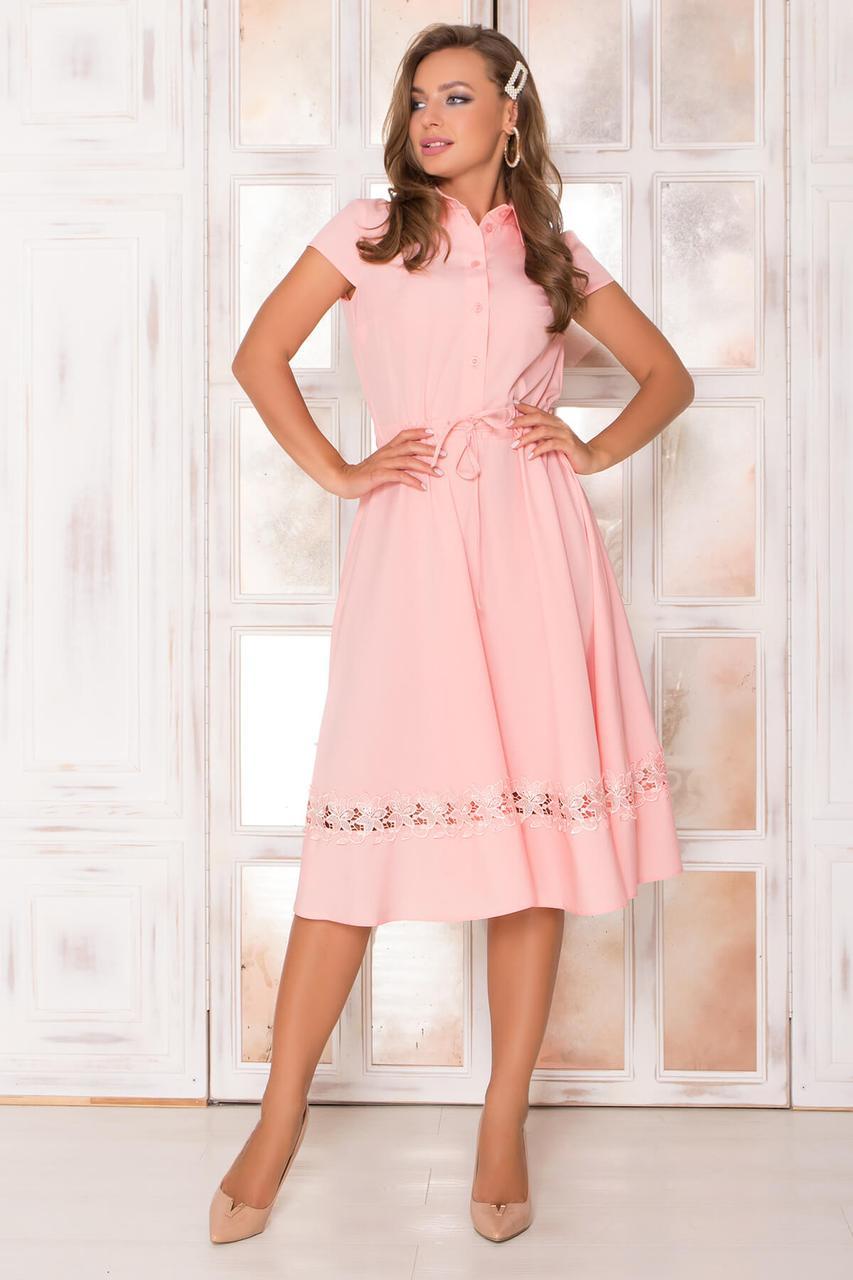 Красивое летнее платье миди персиковое