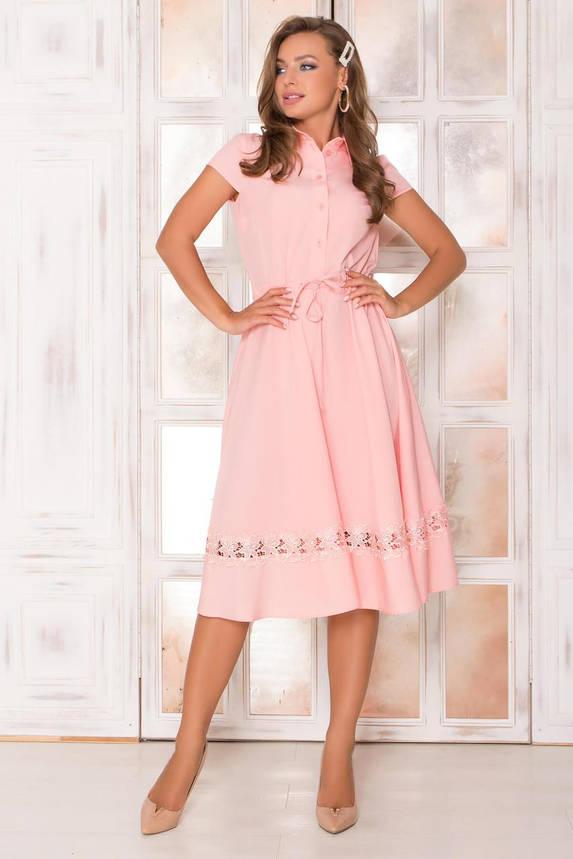Красивое летнее платье миди персиковое, фото 2
