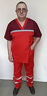 Чоловіча форма для робітників швидкої допомоги з котону червоний, фото 1