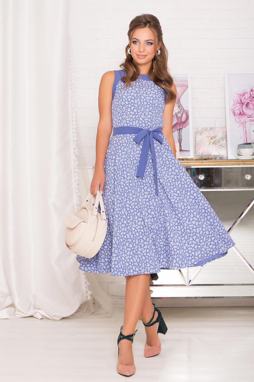 Красивое летнее платье миди синее без рукава