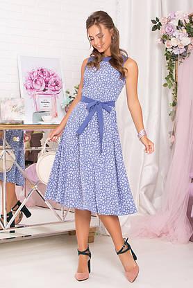 Красивое летнее платье миди синее без рукава, фото 2