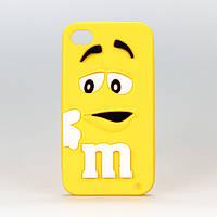 Чехол силиконовый M&M желтый для Iphone 4/4S