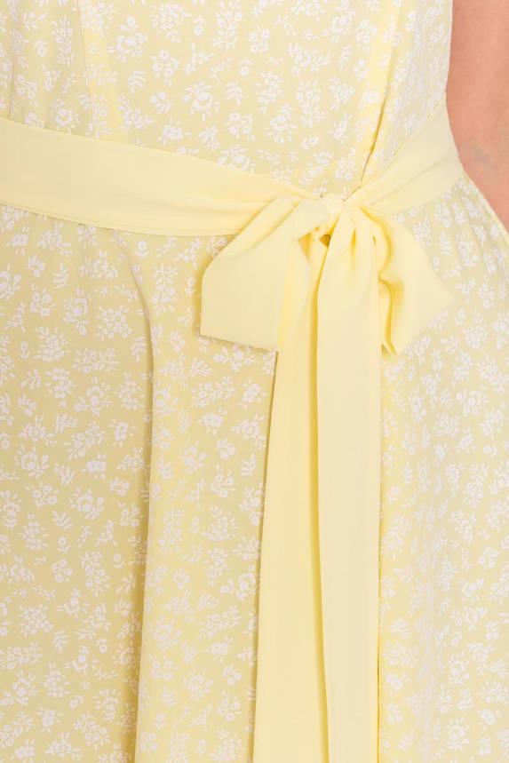 Красивое летнее платье миди желтое без рукава, фото 2