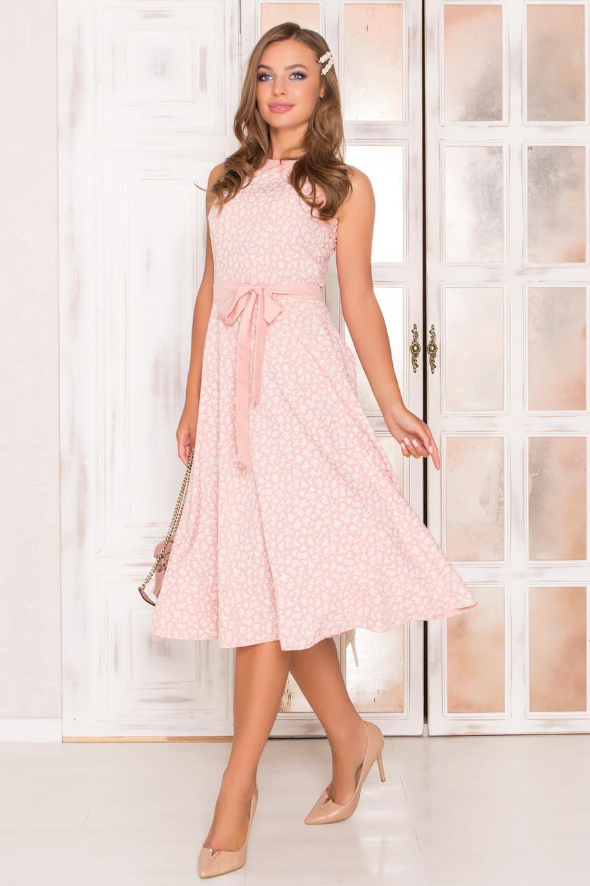 Красивое летнее платье миди персиковое без рукава
