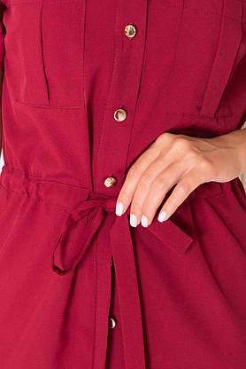 Летнее платье рубашка короткое бордо, фото 2