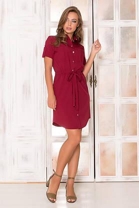 Летнее платье рубашка короткое бордо, фото 3