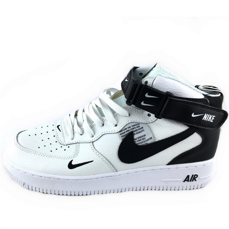 Кроссовки мужские Nike Air Force High (белые-черные) Top replic