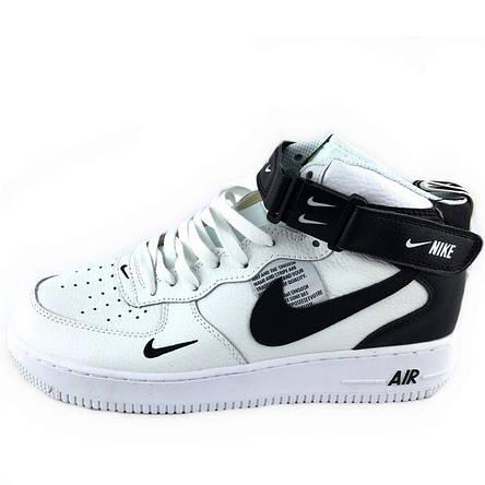 Кроссовки мужские Nike Air Force High (белые-черные) Top replic, фото 2