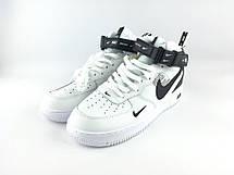 Кроссовки мужские Nike Air Force High (белые-черные) Top replic, фото 3