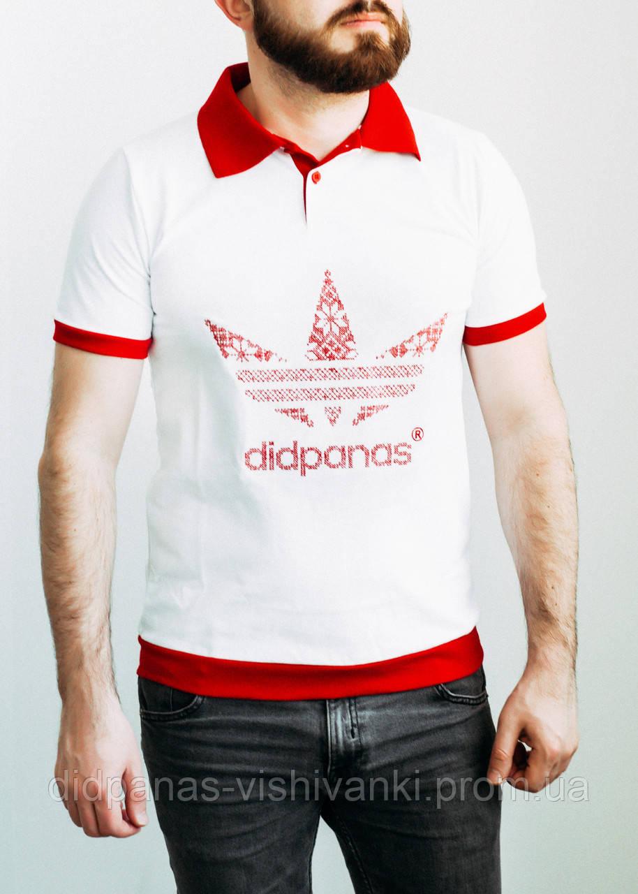 8521fb8ef4375 Футболка поло мужская didpanas, белая с красным - Didpanas в Черновцах