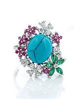 """Кольцо серебряное с бирюзой, рубином и изумрудом """"Nano"""""""