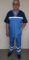Чоловіча форма для робітників швидкої допомоги з котонової тканини блакитний