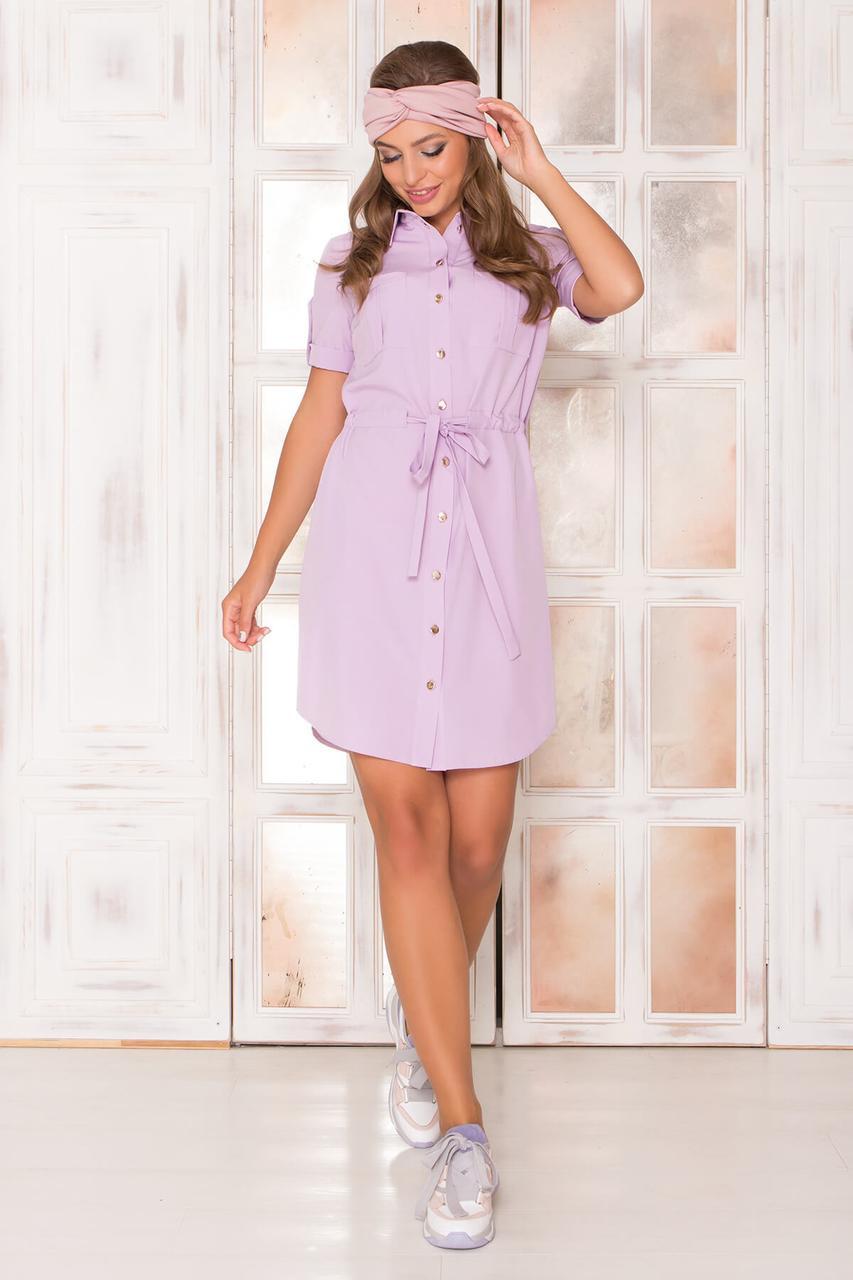 Летнее платье рубашка короткое сиреневое