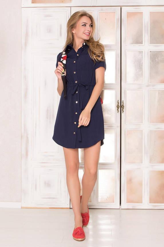 Летнее платье рубашка короткое синее, фото 2