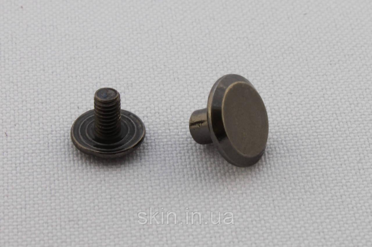 Винт ременной, высота ножки - 5 мм, цвет - черный никель, артикул СК 5024