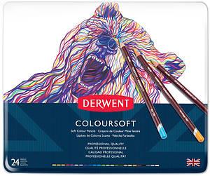 Набор цветных карандашей Coloursoft 24шт., металлическая коробка, Derwent