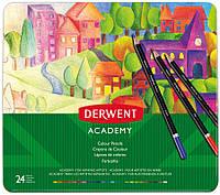 Набор цветных карандашей Academy в метал.короб. 24 цвета, Derwent