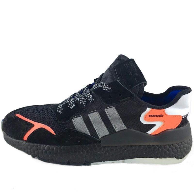 Кроссовки мужские Adidas Nite Jogger (черные-оранжевые) Top replic