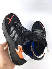 Кроссовки мужские Adidas Nite Jogger (черные-оранжевые) Top replic, фото 3