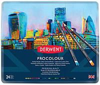 Набор цветных карандашей Procolour, 24 цвета метал. Derwent